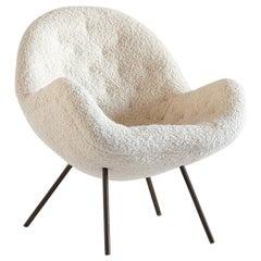 Fritz Neth Egg Shaped Lounge Chair in Ivory Dedar Bouclé, Correcta Kassel, 1950s