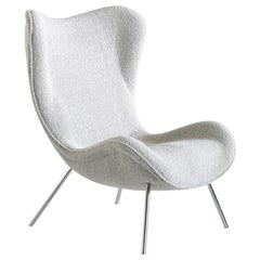 Fritz Neth 'Madame' Lounge Chair in Pearl Dedar Bouclé, Correcta, Germany, 1950s