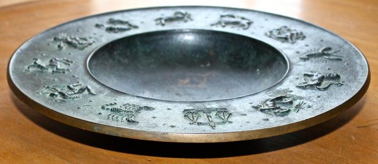 Fritz Nuss, Classical 'Zodiac' Low Bronze Bowl For Sale 7