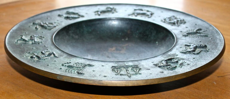 Fritz Nuss, Classical 'Zodiac' Low Bronze Bowl For Sale 8