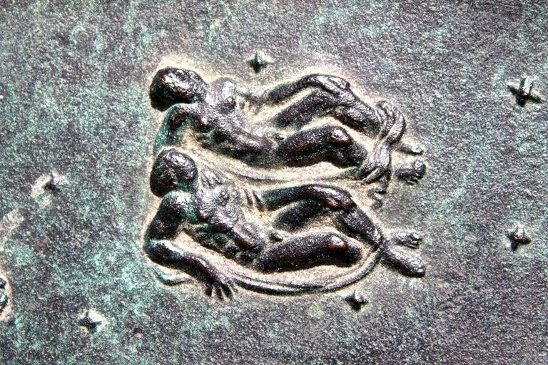 Fritz Nuss, Classical 'Zodiac' Low Bronze Bowl For Sale 12