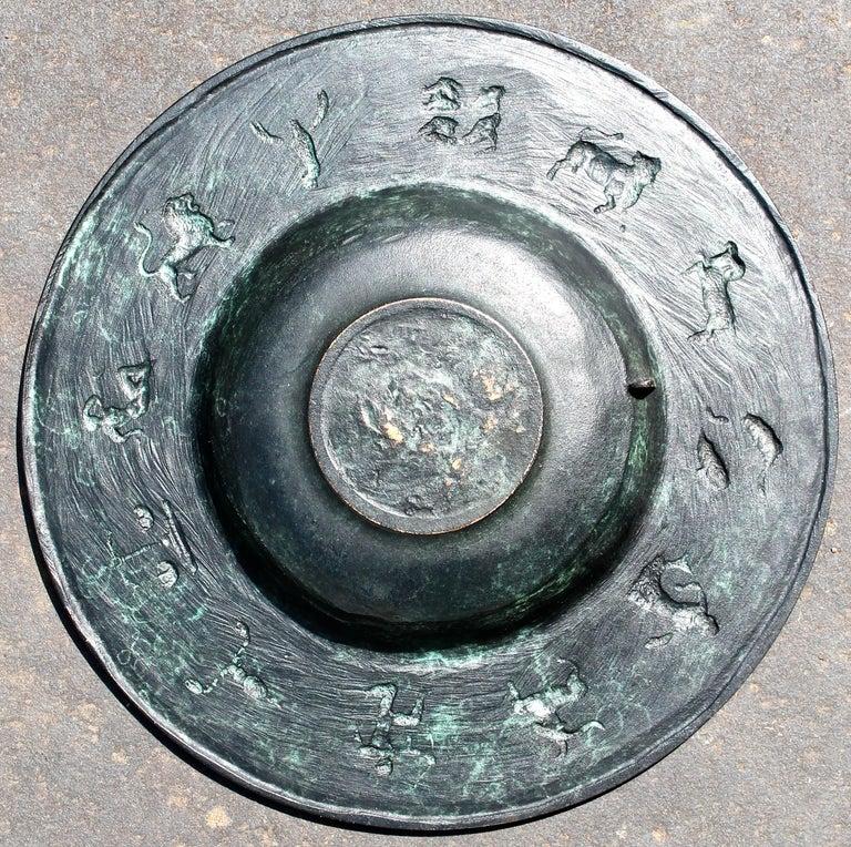 Art Deco Fritz Nuss, Classical 'Zodiac' Low Bronze Bowl For Sale