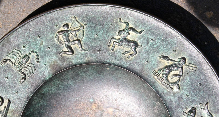 Fritz Nuss, Classical 'Zodiac' Low Bronze Bowl In Good Condition For Sale In Sharon, CT