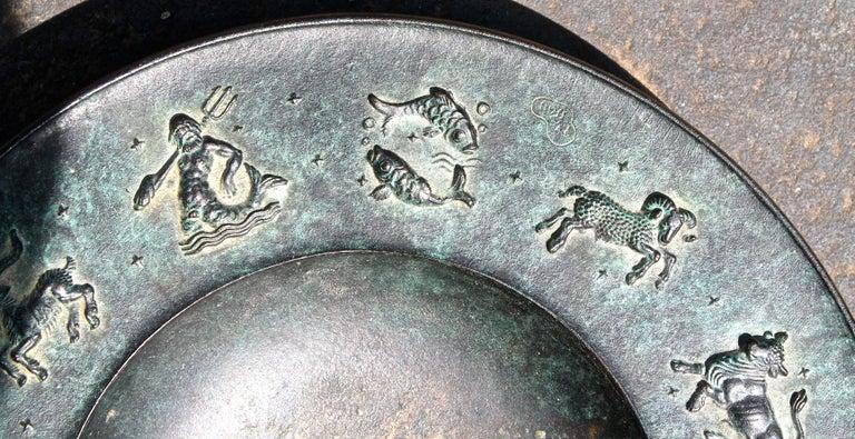 Fritz Nuss, Classical 'Zodiac' Low Bronze Bowl For Sale 1