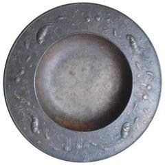 Fritz Nuss, Rare Bronze Low Bowl 'Aquatic Creatures'