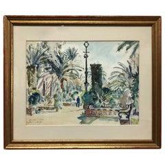 "Fritz Pfeiffer ""Sevilla"" Original Watercolor, circa 1932"