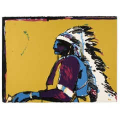 Indian with Pistol, Hand-Signed lithograph