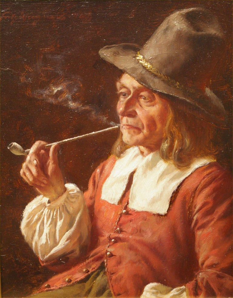 Fritz Wagner Portrait Painting - A Quiet Smoke