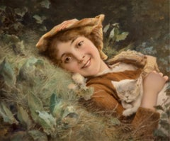 K.P.M. Porcelain Plaque Depicting a Portrait of a Young Girl and Kitten