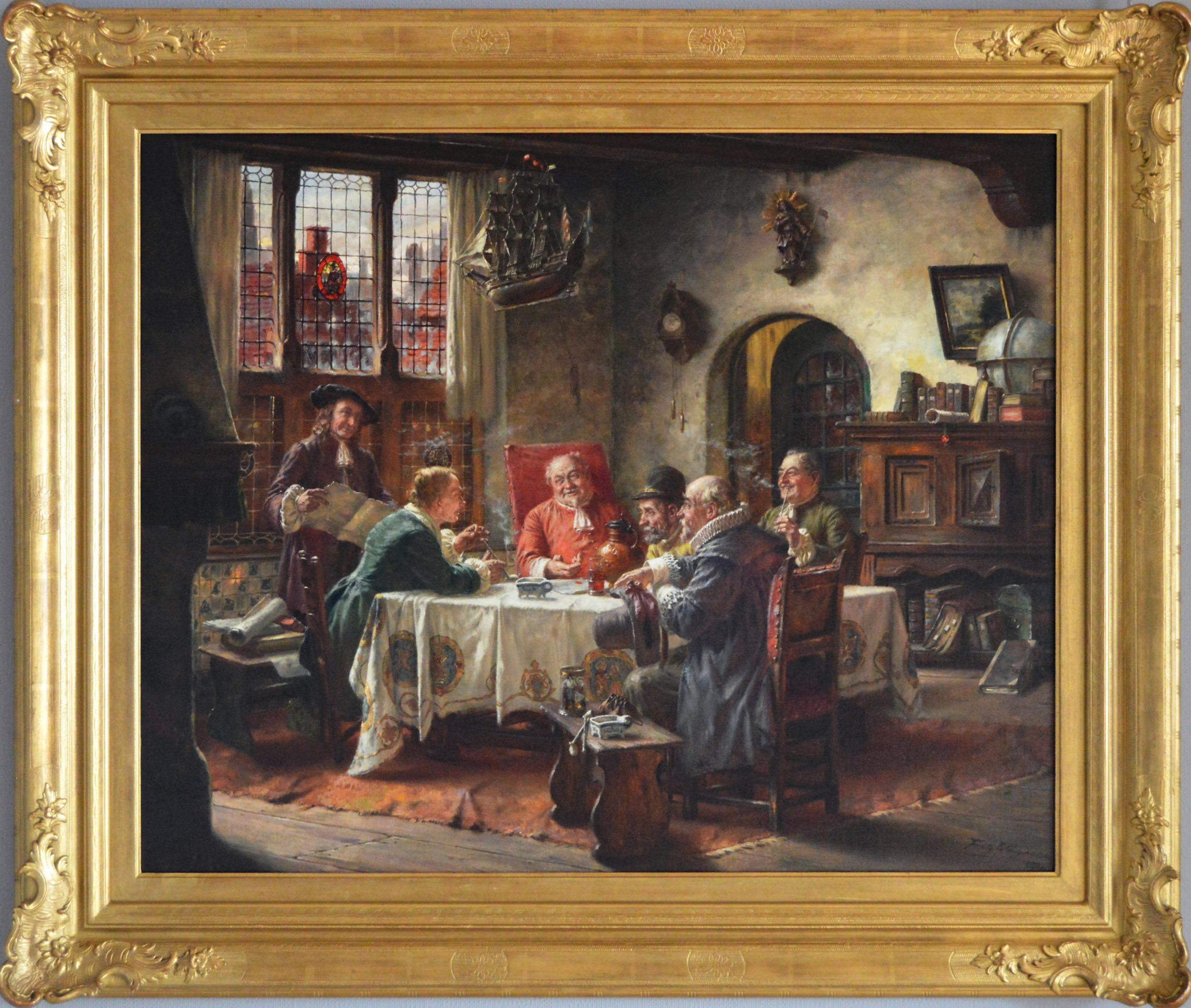 Genre historical oil painting of a merchants guild