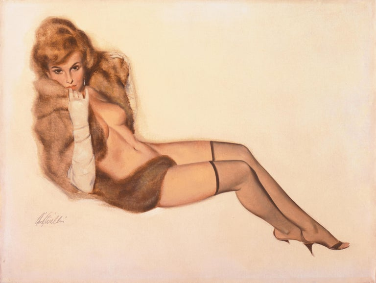 'Venus in Furs', American Pin-Up Illustration, Nude, Leopold von Sacher-Masoch - Painting by Fritz Willis