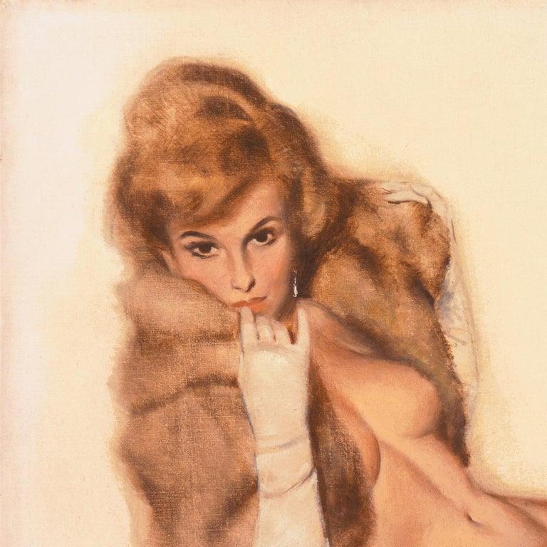'Venus in Furs', American Pin-Up Illustration, Nude, Leopold von Sacher-Masoch - Orange Nude Painting by Fritz Willis
