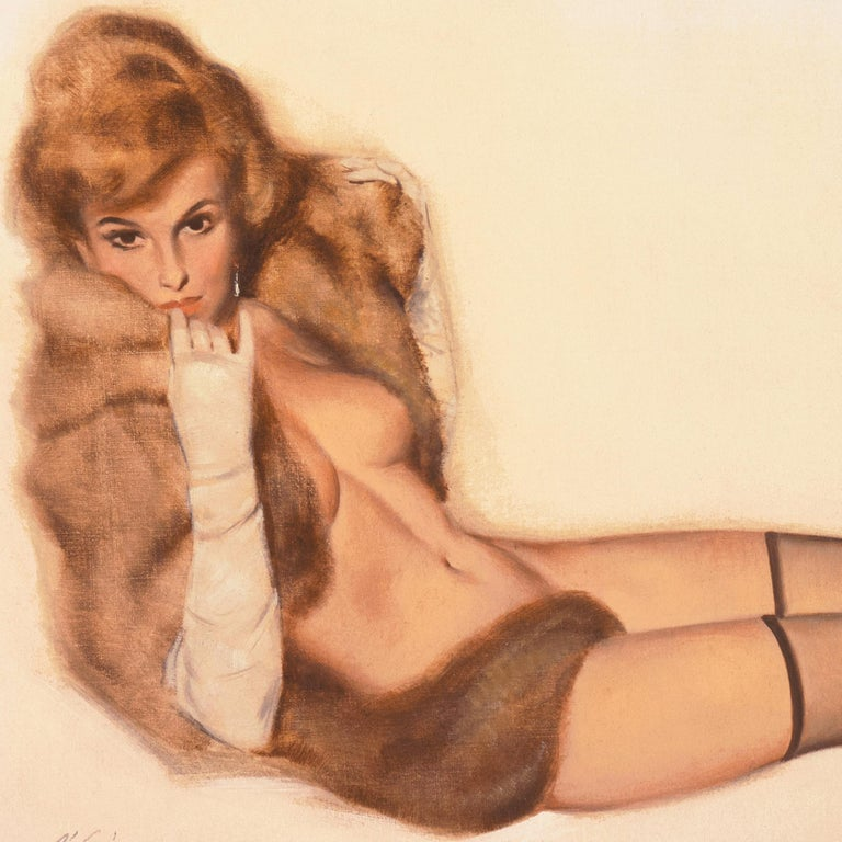 Fritz Willis Nude Painting - 'Venus in Furs', American Pin-Up Illustration, Nude, Leopold von Sacher-Masoch
