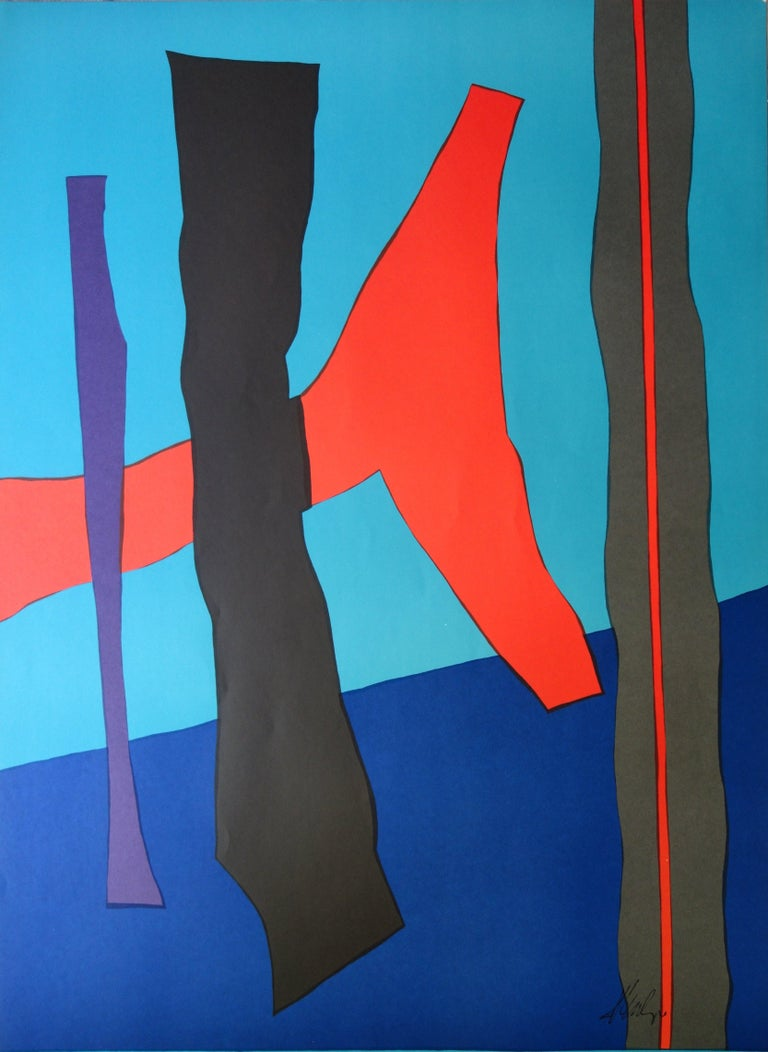 Abstract Composition - Lithograph (Olympic Games Munich 1972) - Blue Abstract Print by Fritz Winter