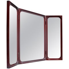 Frode Holm Fold-Out Triptych Wall Mirror for Illums Bolighus, Denmark, 1950s