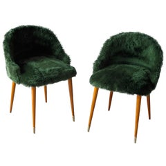 Frode Holm Style Danish Midcentury Vanity Chairs in Elm and Green Faux Fur
