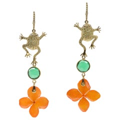 Frog and Orchid Petal Earrings with Quartz and Cubic Zirconia, 925 Yellow Silver