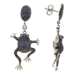Frog Earrings Set with Blue Cubic Zirconia, 925 White Silver
