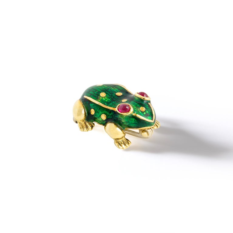 Cabochon Frog Gold Enamel Ruby Clip Brooch For Sale