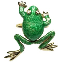 Frog Green Enamel White Diamonds 14 Karat Yellow Gold Art Nouveau Ring