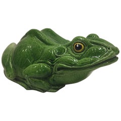 Frog Lover's Fun Glazed Terracotta Table Top Sculpture
