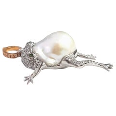 Frog Necklace Pendant in Australian Pearl, Diamond and 18 Karat White Gold