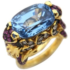 Frog Prince 7.17 Carat Blue Topaz Pink Blue Sapphire Brown Diamond Gold Ring