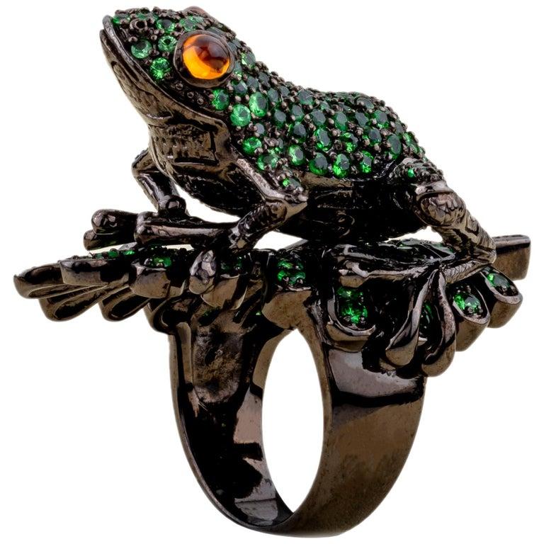 Frog Ring Silver Tsavorites Citrine For Sale