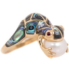 Frog Ring with 14 Karat Yellow Gold, Pearl, Abalone and Ruby