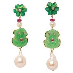 """Froggy"" 18 Karat Yellow Gold Jade Brown Diamonds Ruby Cabochon Earrings"