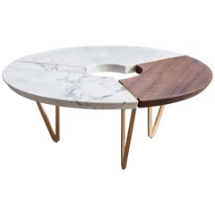 From above II Table in Marble, Brass and Hardwood, Handmade in Italy