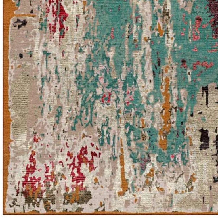 from Alexandra with Love, Modern Rug Hand Knotted Erased Design Wool and Silk In New Condition For Sale In Lohr, Bavaria, DE