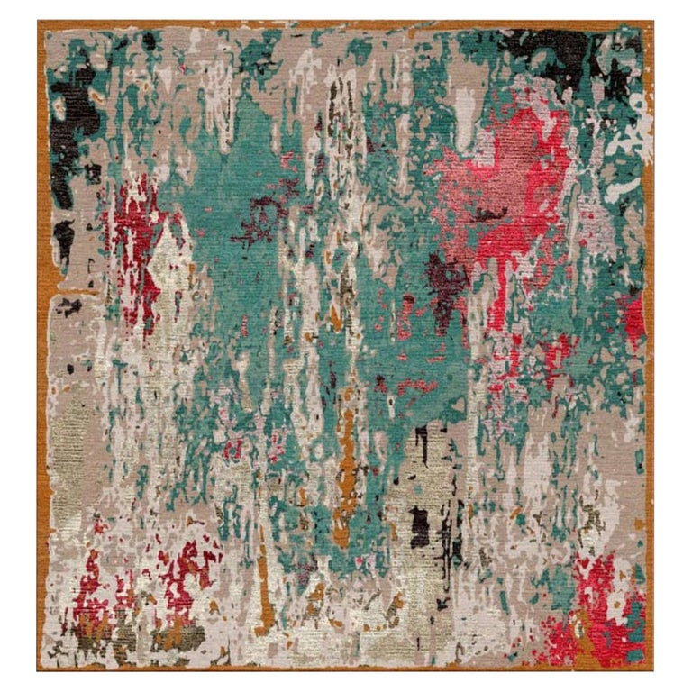from Alexandra with Love, Modern Rug Hand Knotted Erased Design Wool and Silk For Sale
