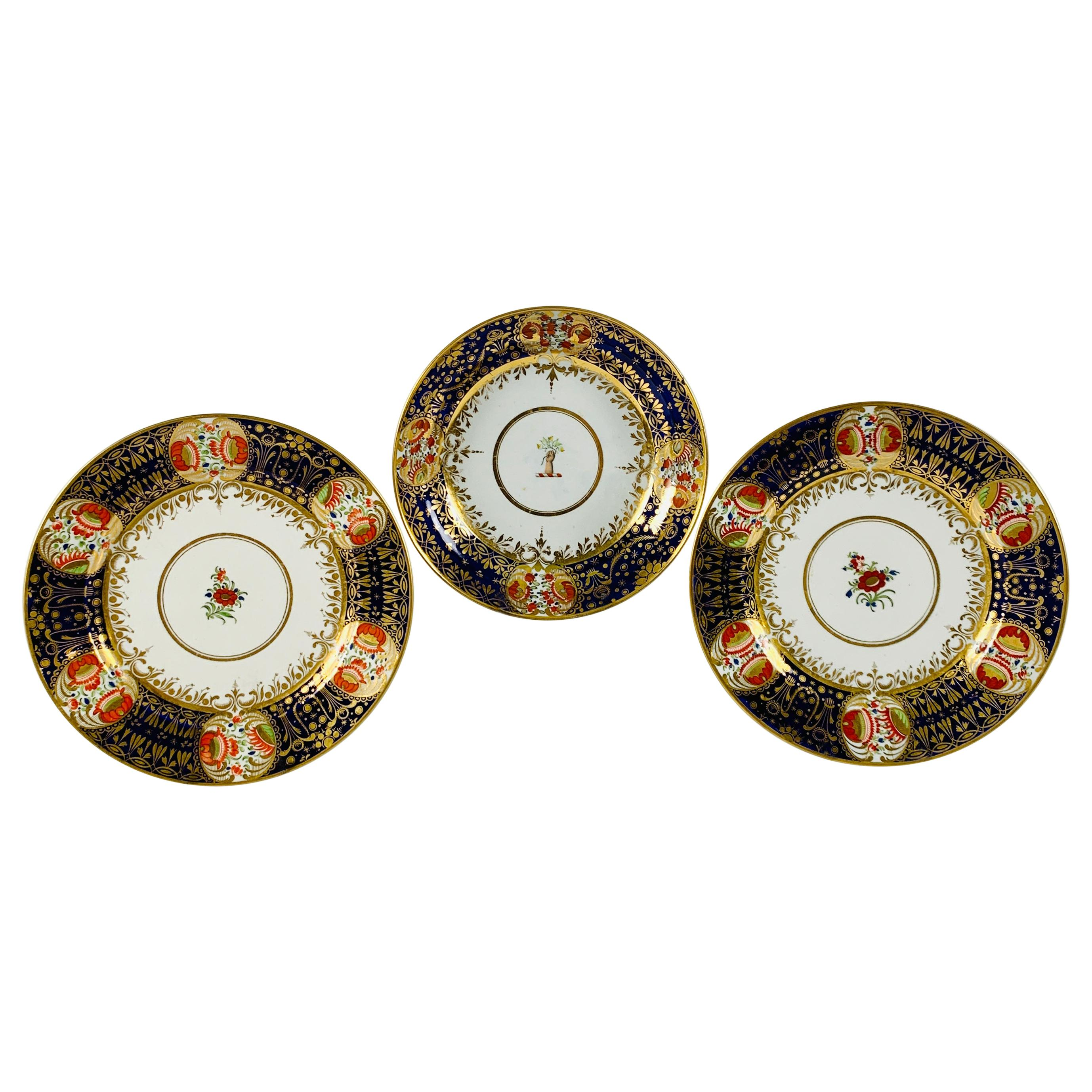 From Collection of Mario Buatta Three Worcester Dejeuney Pattern Dishes