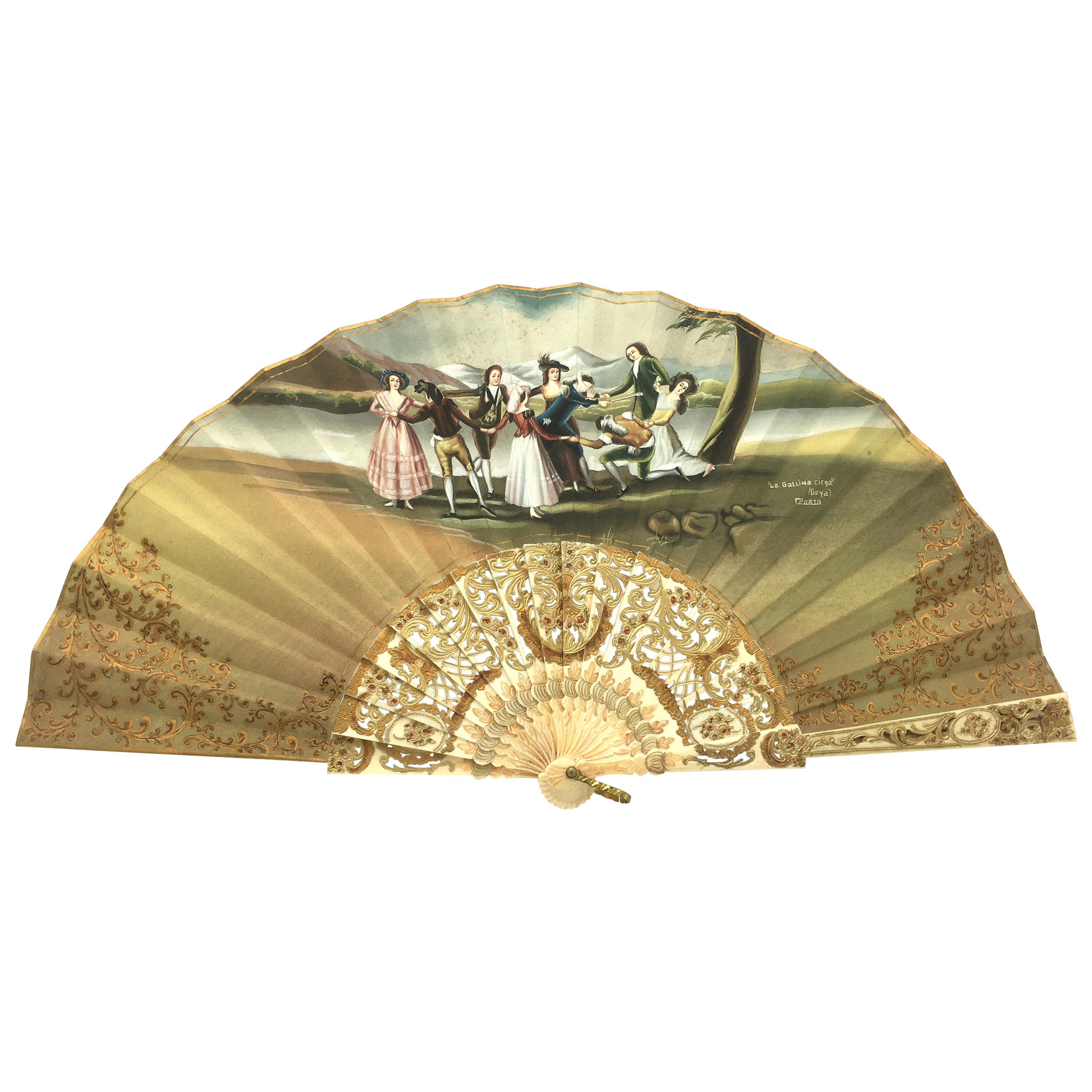 """From Goya """"The Blind Hen"""" Hand Painted Fan, 19th Century"""