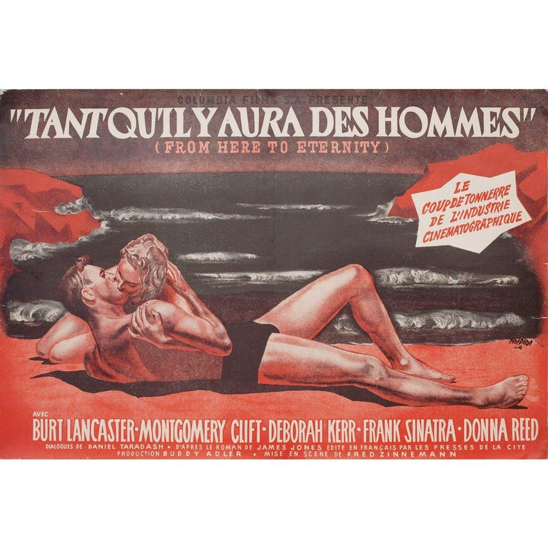 From Here to Eternity 1953 French Mini Film Poster In Good Condition For Sale In New York, NY