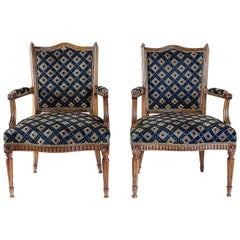 From Provence a Rare Louis XVI Period Pair of Armchairs in Carved Walnut