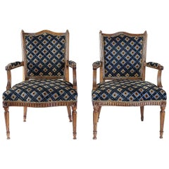 From Provence Fantastic Pair of Armchairs in Hand Carved Walnut