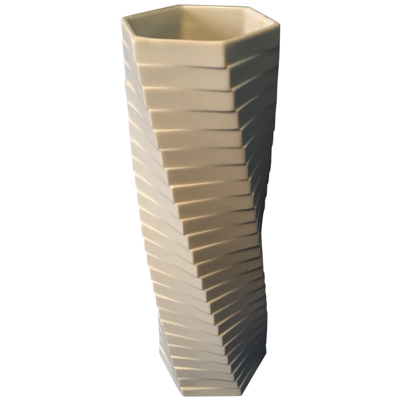 from Rosenthal Studio Geometric White Matt Vase Pisa by Werner Uhl