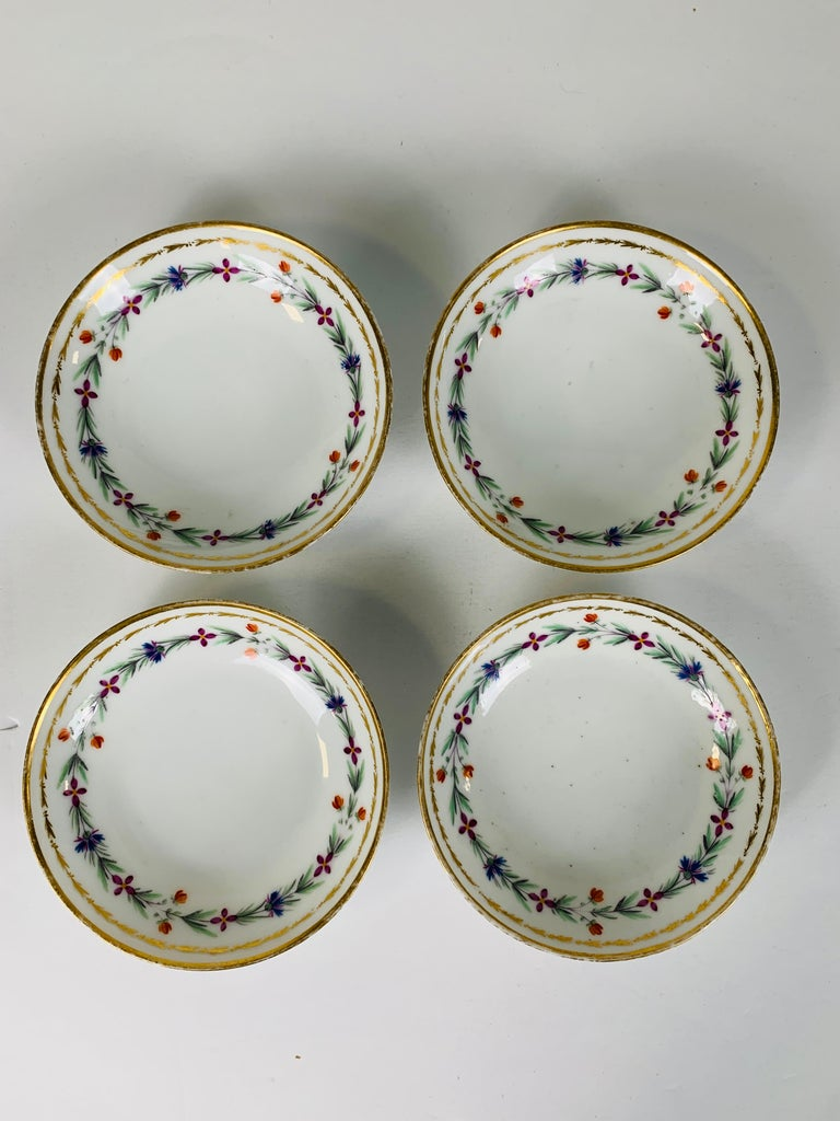 Louis XVI From the Collection of Mario Buatta 4 Sprig Decorated 18th C Porcelain Saucers For Sale