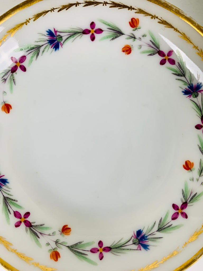 French From the Collection of Mario Buatta 4 Sprig Decorated 18th C Porcelain Saucers For Sale
