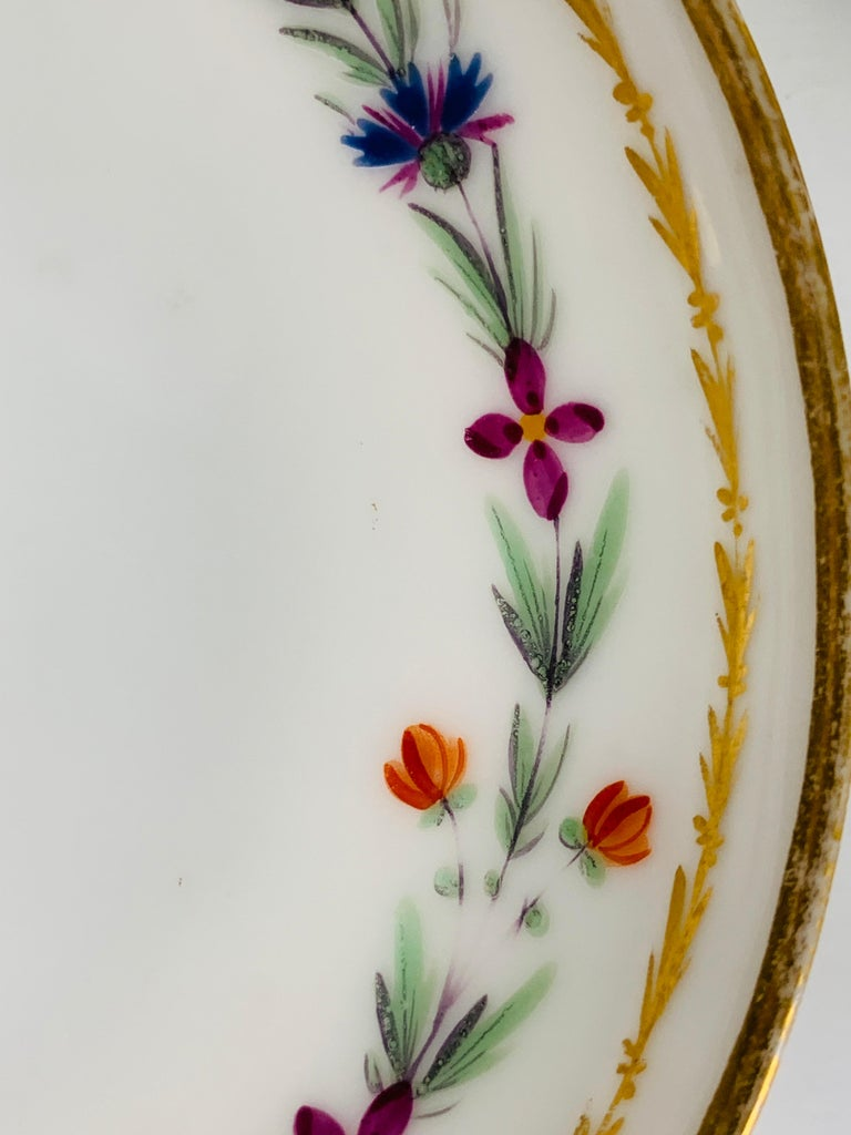 Hand-Painted From the Collection of Mario Buatta 4 Sprig Decorated 18th C Porcelain Saucers For Sale