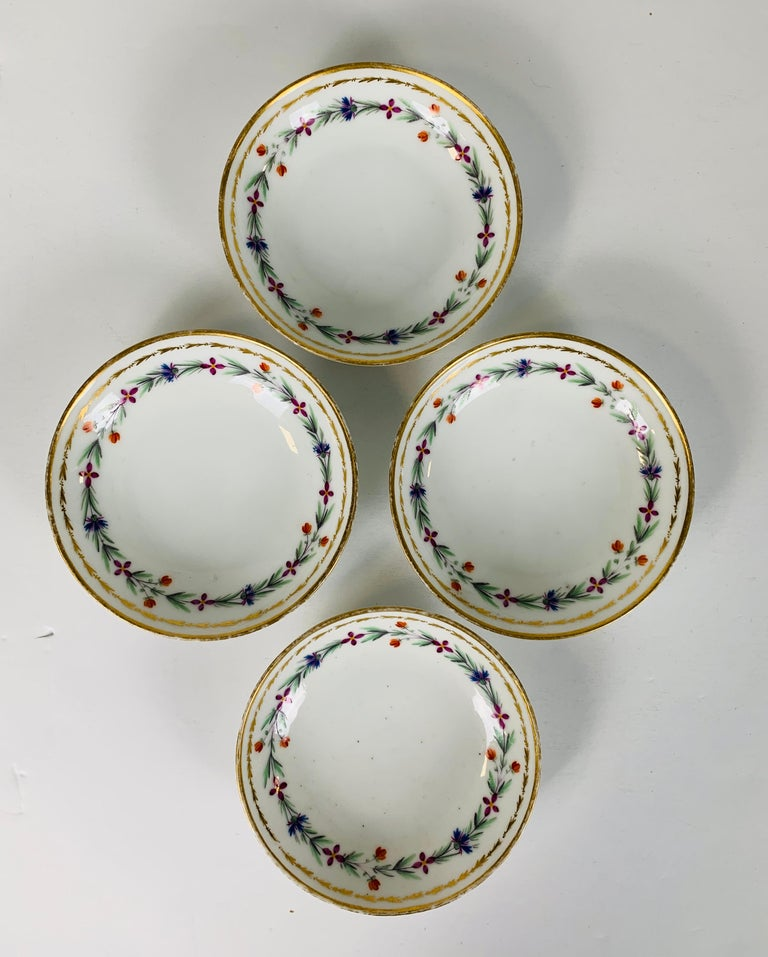 18th Century From the Collection of Mario Buatta 4 Sprig Decorated 18th C Porcelain Saucers For Sale