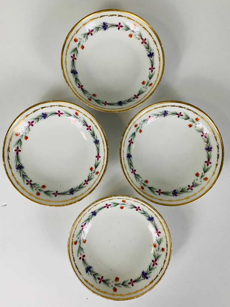 From the Collection of Mario Buatta 4 Sprig Decorated 18th C Porcelain Saucers For Sale 1