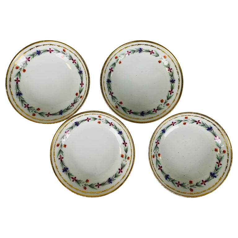 From the Collection of Mario Buatta 4 Sprig Decorated 18th C Porcelain Saucers For Sale