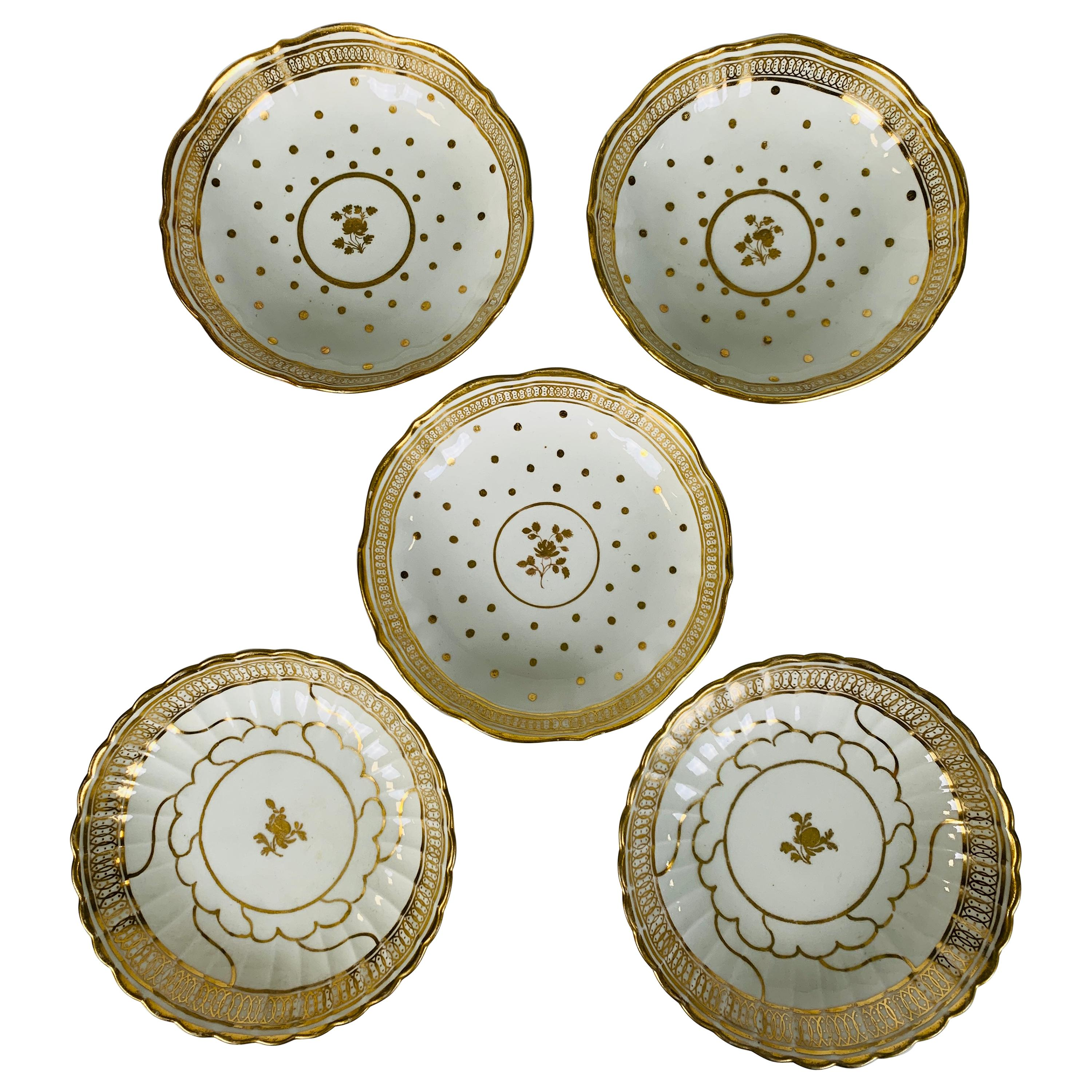From the Collection of Mario Buatta 5 Worcester White and Gold Saucers