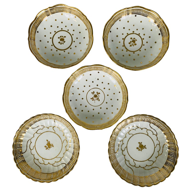 From the Collection of Mario Buatta 5 Worcester White and Gold Saucers For Sale