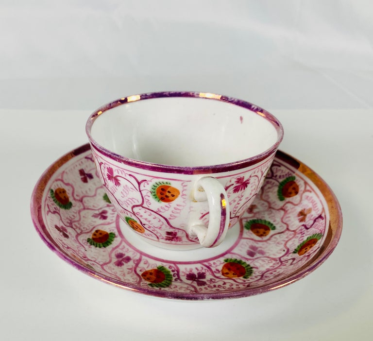 Country From the Collection of Mario Buatta a Pair of Pink Luster Teacups For Sale