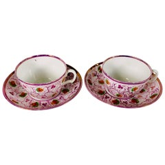 From the Collection of Mario Buatta a Pair of Pink Luster Teacups