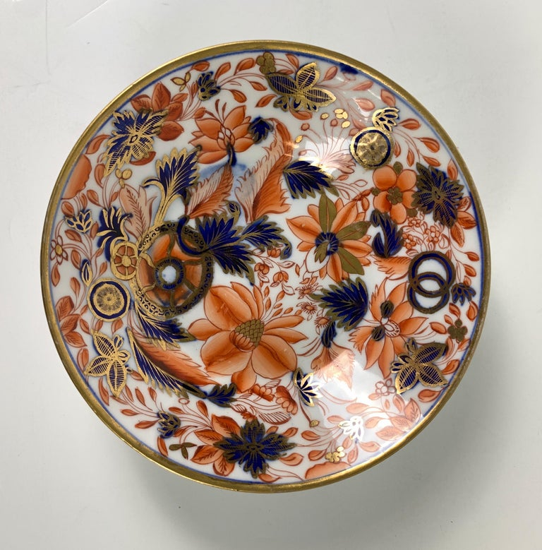 Hand-Painted From the Collection of Mario Buatta a Set of Four Imari Tobacco Leaf Saucers For Sale